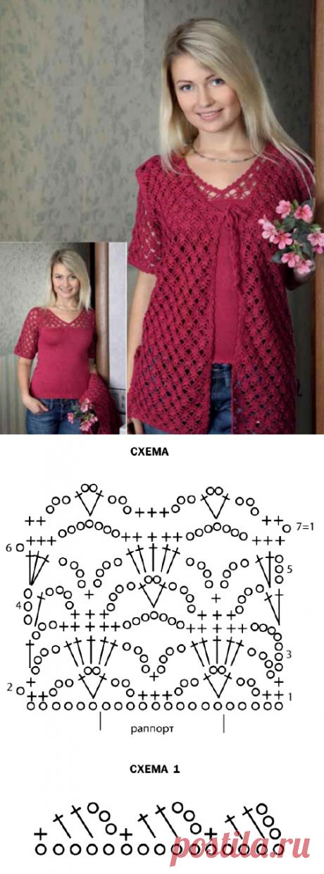 Женственный костюм: пуловер спицами и ажурная жилетка крючком