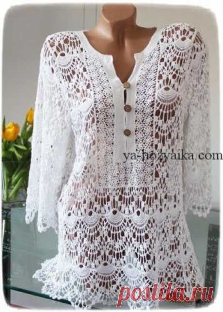 Very beautiful tunic a hook with schemes. A lacy dress for the summer a hook