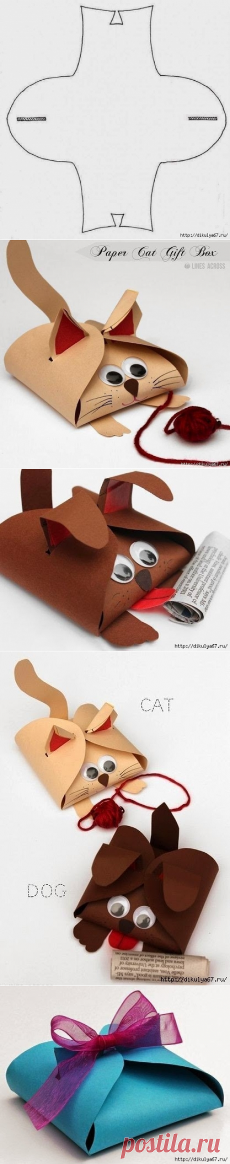 El embalaje del pequeño regalo en forma de la gata y el perillo