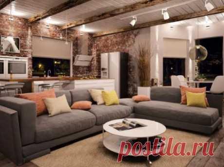 Дизайн интерьера гостиной в стиле лофт, рекомендации по оформлению маленькой гостиной, в частном доме и в квартире, выбор мебели для стиля лофт, освещение, особенности.