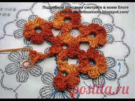 Безотрывное вязание кругового цветочного мотива (+ Видео урок) » Клубка.Нет - Все о вязании крючком
