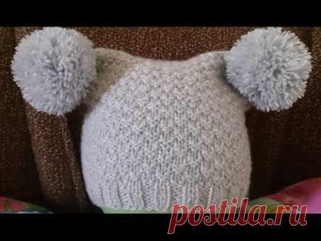 ВЯЗАНИЕ СПИЦАМИ! ШАПКА С ПУМПОНАМИ! Knitting