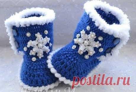 Пинетки-ботиночки. Описание (Вязание крючком) | Журнал Вдохновение Рукодельницы
