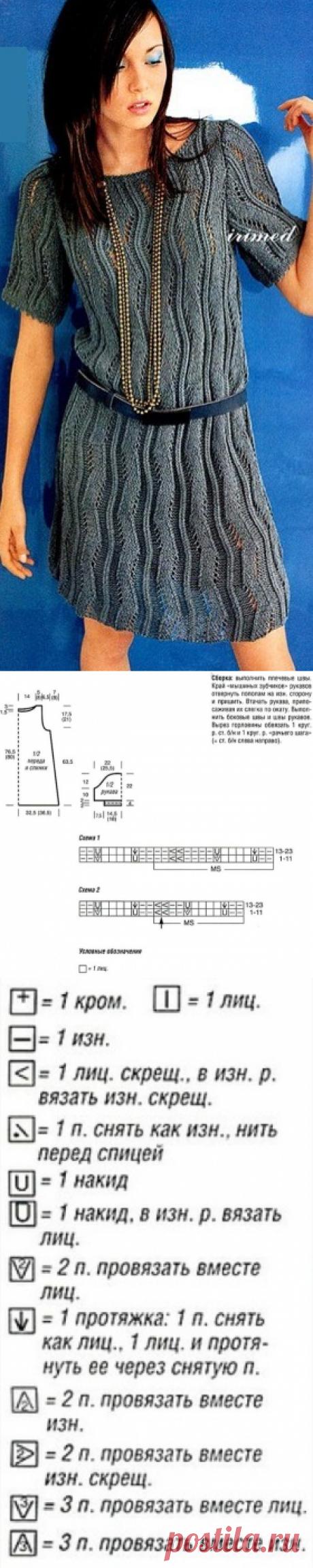 Узорчатое платье «Волна», вязанное спицами | Блог elisheva.ru