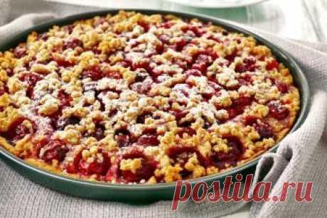 Рецепт ароматного и очень вкусного тертого пирога с вишней | Вкусные рецепты