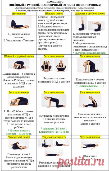 Комплекс упражнений на шейный, грудной и поясничный отделы позвоночника