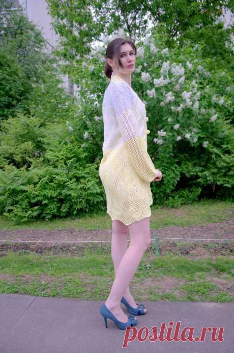 Ажурный лимонный кардиган спицами для прохладных летних вечеров | Paradosik_Handmade | Яндекс Дзен