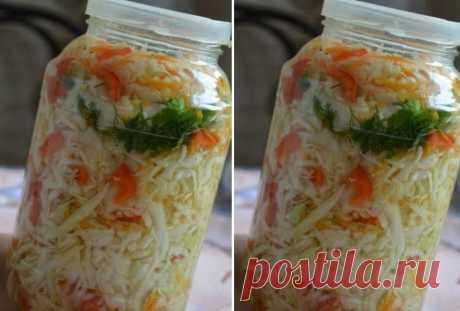Хрустящий капустный салат в горячем маринаде