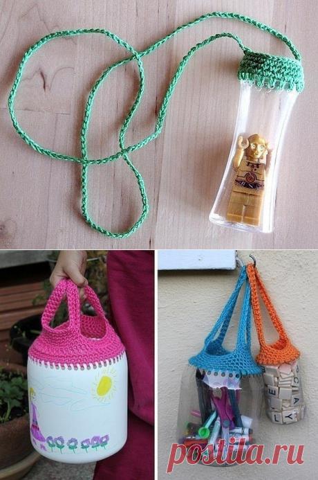 Сумочки для мелочей из пластиковых бутылок (Вязание крючком) | Журнал Вдохновение Рукодельницы