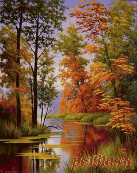 Осенний пейзаж - Схемы вышивки - BiataV - Авторы - Портал «Вышивка крестом»