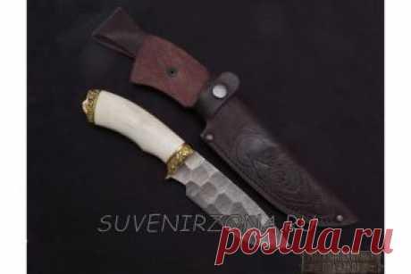 Купить подарочный нож «Морж» из дамасской стали камень. Ворсма.