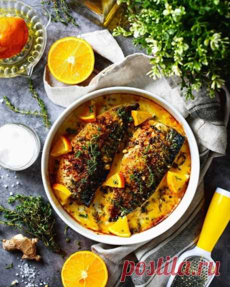 Запеченная скумбрия с апельсином. Нежная, пряная, ароматная рыбка с цитрусовым ароматом и ярким апельсиновым соусом в маринаде с имбирем и тимьяном . Вкусно? Рецепт тут