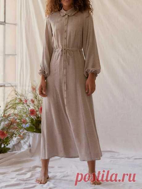 Women Plaid Print Doll Collar Long Sleeve Drawstring Waist Vintage Maxi Dresses - US$25.99