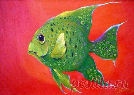 рыбка УДАЧИ (двп., масло)