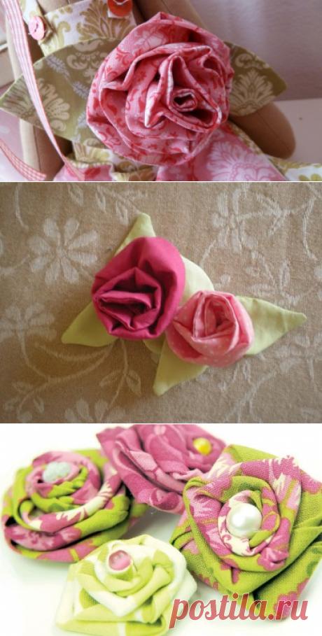 Цветы из ткани своими руками — Как сделать Тильду розу, Цветок-брошь от Санди Хендерсон, Простая роза, Винтажные розы и еще немного