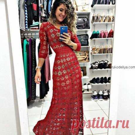 Красное платье мотивами Красное платье мотивами крючком. Длинное вечернее платье для женщин крючком