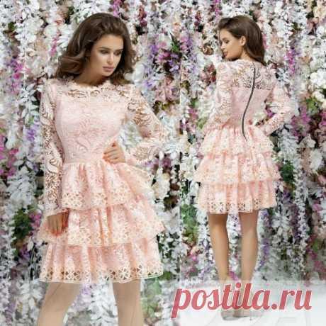 Ажурное платье с тремя воланами : красивое и романтичное. Скидки всем. Доставка.