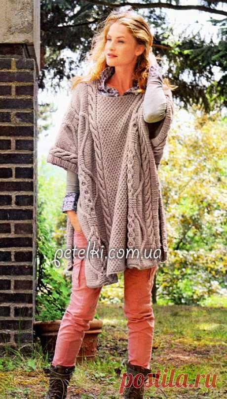 Вязаное спицами модное пончо. Схемы, описание вязания