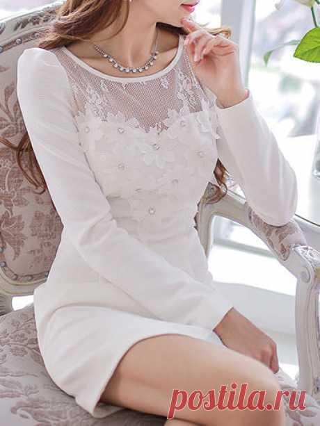 Appliqued Beaded Pierced Mini Dress