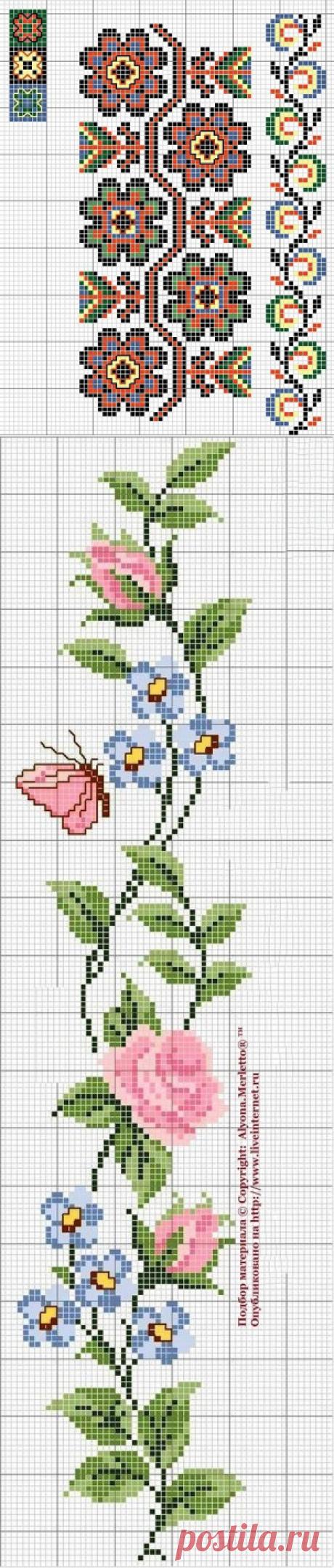 Бордюры из роз для вышивки крестом — Рукоделие