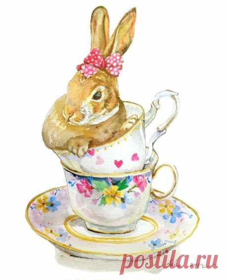 Кролики в цветочных венках