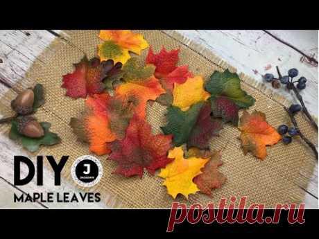 DIY. Handmade maple leaves. Autumn accessory. Part 4. Осенние кленовые листья из фоамирана. - YouTube