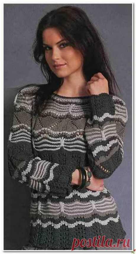 Два очень красивых пуловера  Трёхцветный пуловер спицами    Короткий пуловер объёмными узорами    Кликните по картинке, чтобы увеличить её