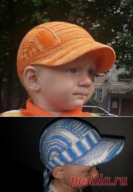 Кепка для мальчика 2х лет | Вязание для детей спицами и крючком.