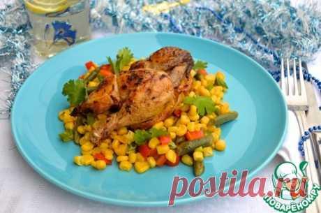 Цыплята с пряным кукурузным салатом – кулинарный рецепт