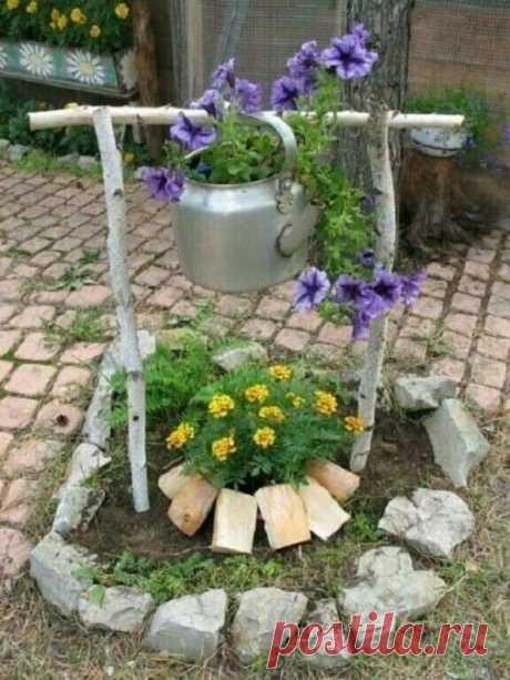 Дачный участок. Садовый декор из подручных материалов.   Дом & уют   Яндекс Дзен