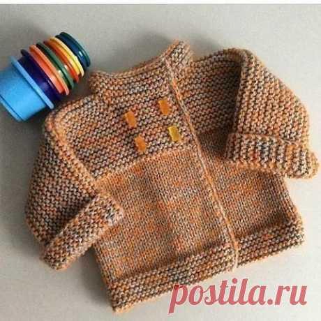 Детский кардиган платочной вязкой. Описание вязания для начинающих. из категории Интересные идеи – Вязаные идеи, идеи для вязания