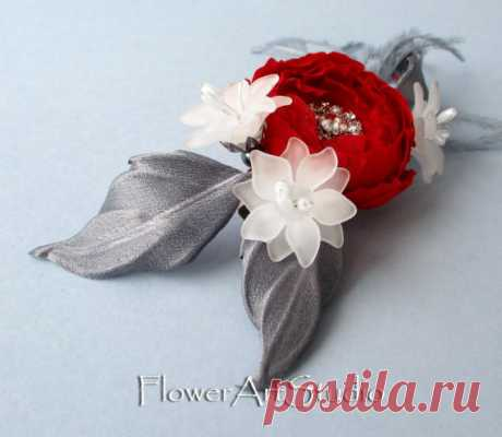 Bridal Hair Flower Clip Bridal Hair Accessories Grey and Red