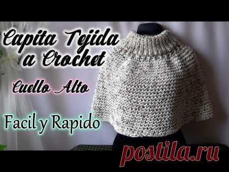 CAPITA TEJIDA a GANCHO con CUELLO ALTO/MAÑANITA TEJIDA muy facil y en un dia!!