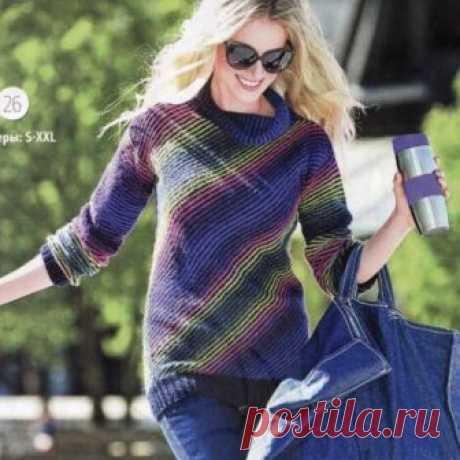 Пуловер связанный по диагонали