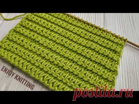 КРАСИВЫЙ и ПРОСТОЙ Узор спицами |Узор #54| Easy Relief knitting stitch pattern