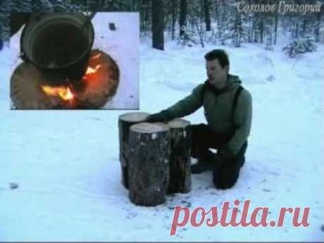 """About four fires by the principle of \""""the Finnish candle\"""""""