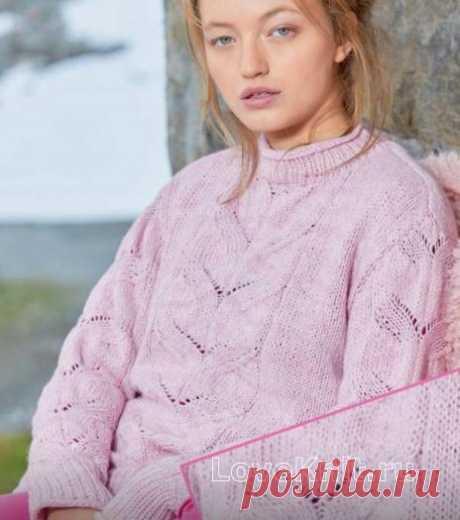 Пуловер с центральным ажурным узором схема спицами » Люблю Вязать