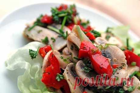 Постный салат с шампиньонами и овощами - рецепт с фото / Простые рецепты