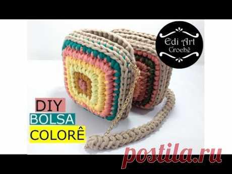 Bolsa de crochê fácil - Bag crochet - Bolsa quadrada  - DIY - Fio de malha | Edi Art Crochê