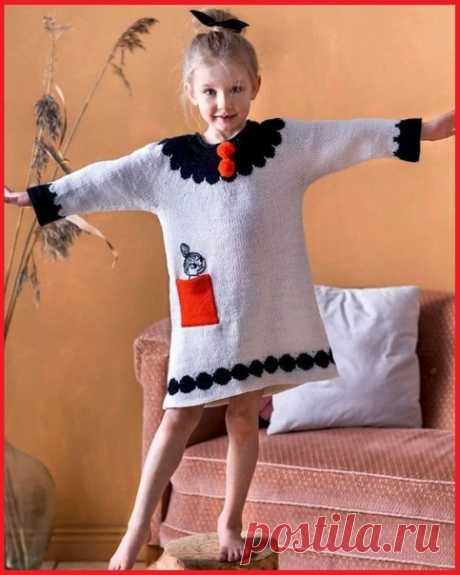 Платье-туника для девочки #knitting #вязание_спицами #вяжем_детям
