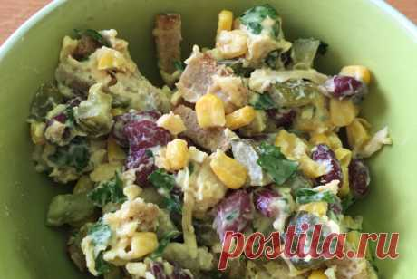 Легкий салат с курицей, фасолью и сыром рецепт – европейская кухня: салаты. «Еда»
