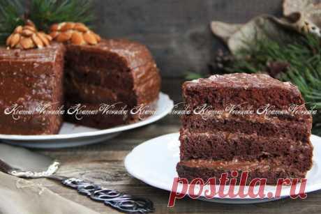 Шоколадный торт с кремом из халвы