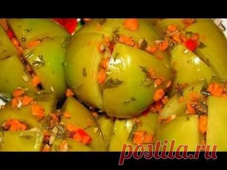 Вкуснейшие зелёные помидорчики квашеные быстрые Приятного аппетита!