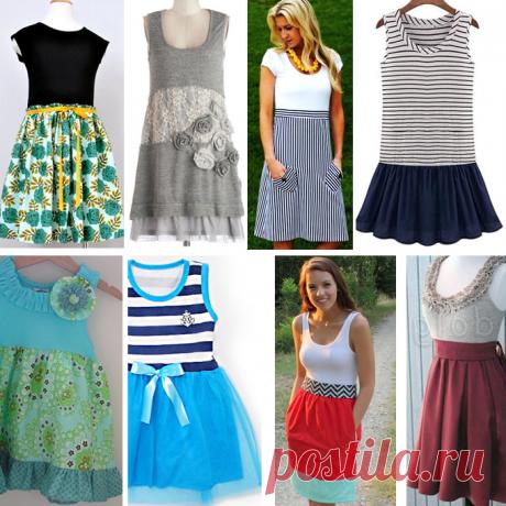 Переделка майки: шьем прекрасное летнее платье - рассматриваем модели и схемы   МНЕ ИНТЕРЕСНО   Яндекс Дзен
