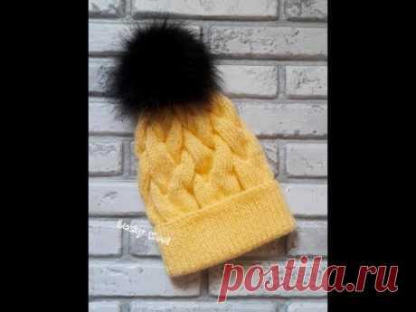 Яркая шапка из ангоры с узором из кос. Hat, knitting.