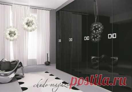 Распашной шкаф черный глянец из МДФ, ЛДСП; фото, расцветки, цена, заказ