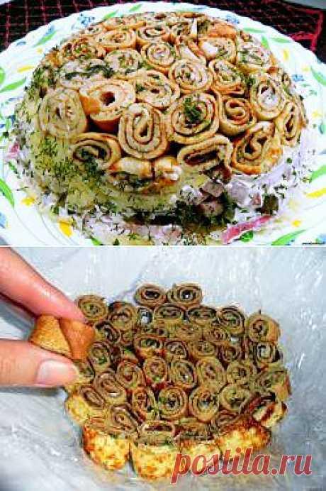 Салат «Клумба» с блинчиками Очень не сложный в приготовлении рецепт, но очень вкусный и красивый! Пробуйте! - Салаты - ПОНЧИК