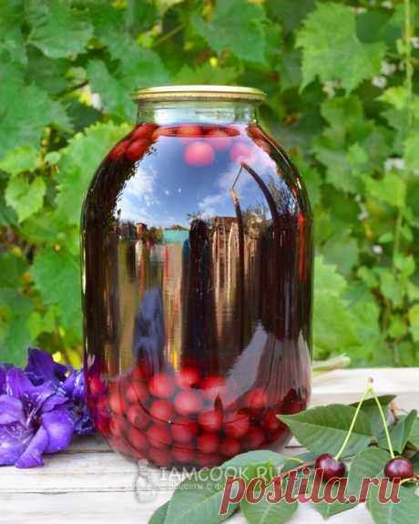 Компот из вишни на зиму на скорую руку (в 3-литровых банках)