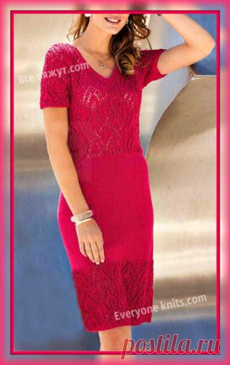 Платье ажурными листиками и лицевой гладью. Описание вязания, схема узора.| Все вяжут.сом/Everyone knits.com |
