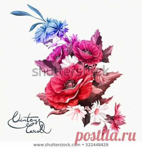 Стоковая векторная графика «Vintage Bouquet Poppy Flowers Chamomile Camomile» (без лицензионных платежей), 522448429: Shutterstock